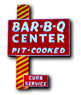 Barbecue Center of Lexington, NC original sign with curb service